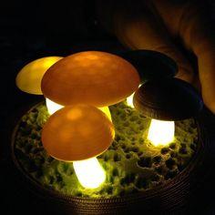 3D Printed Mushrooms! Glow in the dark/luminous PLA was used to print the stems. Cool huh?  #mushrooms #garden #glowinthedark #mycelium #microscopy #3dprinter #3dprinting #3dprinted #coolaf #cool #incredible #halloween #imagination #art #DIY #technology #makerbot #lulzbot #printrbot #reprap #markforged #3dmodel #prototype #astroprint by astroprint
