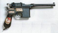 A German Mauser C-96 pistol used by the Bolsheviks during the Russian Revolution.