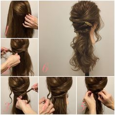 No automatic alt text available. Special Occasion Hairstyles, Fancy Hairstyles, Braided Hairstyles, Wedding Hairstyles, Twist Ponytail, Hair Arrange, Hair Knot, Hair Hacks, Bridal Hair