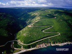 The Cabot Trail passing through the Highlands National Park in Cape Breton, Nova Scotia Cabot Trail, Cape Breton, Places To Travel, Places To Visit, Voyager Loin, Atlantic Canada, Canada Travel, Vacation Spots, Scenery