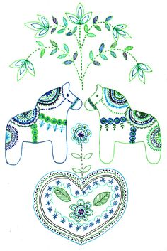 Vintage Embroidery, Embroidery Patterns, Scandinavian Folk Art, Swedish Design, Motif Floral, Vinyl Crafts, Quilting Projects, Coloring Pages, Needlework