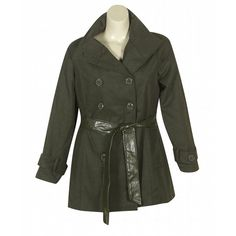 Olive Belted Coat $79  http://www.alight.com/last-kiss-olive-belted-coat.html  Button front belted coat has two open hip pockets, a removable faux leather belt, and decorative buttons at the cuffs. The back view has a picture of this coat with the coat partially unbuttoned.