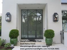 Contemporary Extra Large Flush Mount Gas Lanterns by Sheryl Stringer, Modern Gas Lights, Large Modern Gas Lanterns Porch Lighting, Exterior Siding Colors, Gas Lanterns, Window Trim Exterior, House Entrance, Exterior Lighting, Exterior Wall Light, Exterior Brick, Exterior Doors