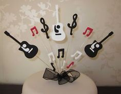 Music Note Cupcake Toppers Music Party Picks Black Gold Silver