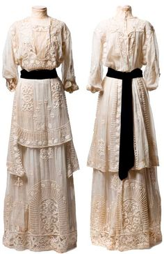 """White cotton marquisette (mesh) dress, ca. 1910-15, with embroidery, lace insertion, and covered buttons. Made by """"Mrs. DeWitt/5 West 31st Street, New York."""" CharlestonMuseum.tumblr.com"""