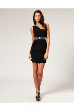 Black One Shoulder Short/Mini Ruffles Tight Homecoming Dress HD2584