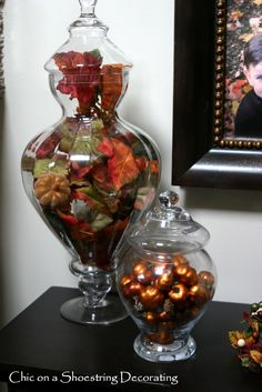Inspiring Decorating with Apothecary Jars for Chic On A Shoestring Decorating Thanksgiving Decor and Fall Apothecary Jars, Apothecary Decor, Jar Fillers, Thanksgiving Decorations, Seasonal Decor, Thanksgiving Diy, Holiday Decor, Autumn Decorating, Decorating Ideas