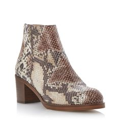 DUNE LADIES PACKER - Back Zip Block Heel Ankle Boot - natural | Dune Shoes Online