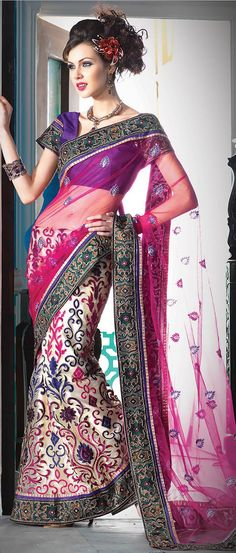 #Pink and Light Beige Net and Shimmer #Lehenga Style #Saree With Blouse @ $114.79
