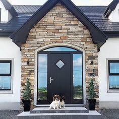 Love our stone front porch ❤ Bungalow Porch, Modern Bungalow Exterior, Cottage Porch, Bungalow House Design, Dormer Bungalow, Bungalow Ideas, Bungalow Renovation, Front Door Steps, House Front Door