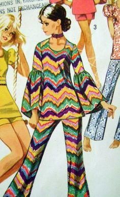 1970s bell bottom pants sewing pattern illustration.