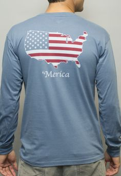 'Merica Long Sleeve Pocket Tee Shirt - Weathered Blue