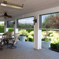 Executive Motorized Retractable Screens on back porch by Phantom Screens