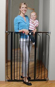 4. Regalo Deluxe Easy Step Extra Tall Gate (pressure mounted) ~ $35: A good, cheaper alternative to the Dreambaby Gate. It has a one-handed open and lock feature, and yet is easy for older children to operate. Also contains larger dogs very well.