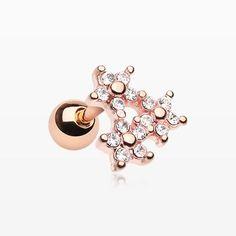 Rose Gold Triple Flower Sparkle Cartilage Tragus Earring-Clear
