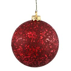 "4"""" Burgundy Sequin Ball Drilled 6/Bag"