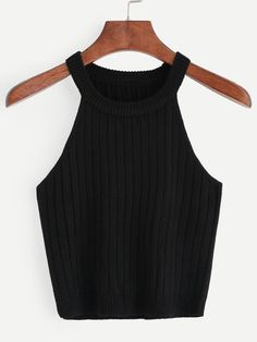 Kleidung 2 Casual Tank Plain Slim Fit Halter Top Black Crop Length Knitted Rib Tank Top Why have a W Tank Top Outfits, Girls Fashion Clothes, Teen Fashion Outfits, Emo Outfits, Punk Fashion, Lolita Fashion, Fashion Boots, Fashion Dresses, Jugend Mode Outfits