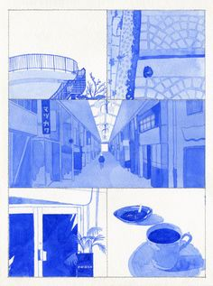 #illustration@blue #coffe byunyounggeun
