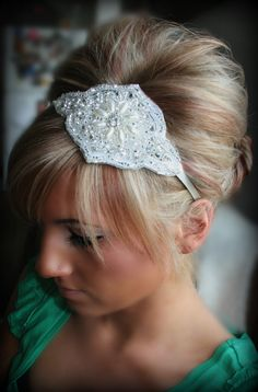 Rhinestone Pearl Headband- JACKIE, bridal, wedding, hair accessory, headband, wedding headband. $34.95, via Etsy.