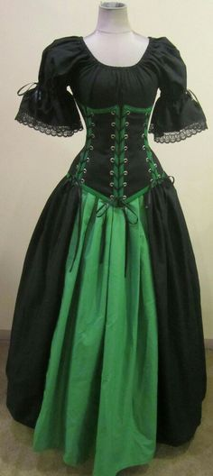 Antique Vintage Black And Green Dress Gown Medieval