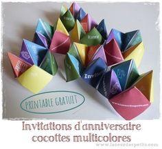 Téléchargez gratuitement une invitation d'anniversaire sous forme de cocotte en papier haute en couleurs. Découpez, pliez et simplifiez-vous la vie