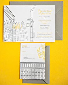 Love how Piper incorporated elements of the Green Building into their invites!