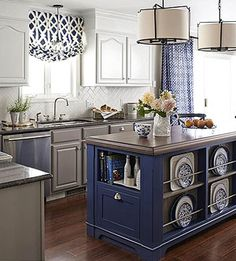 DIY your way to a one-of-a-kind kitchen island. These easy add-ons and smart ideas blend storage and style for maximum efficiency at a fraction of the cost of a built-in design. More Colors and Designs pictured