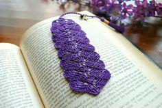 Crochet Lace Bookmark Handmade Egyptian Cotton Purple by Draiguna