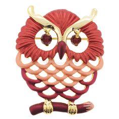 Red Owl Swarovski Crystal Pin Bird Pin Brooch