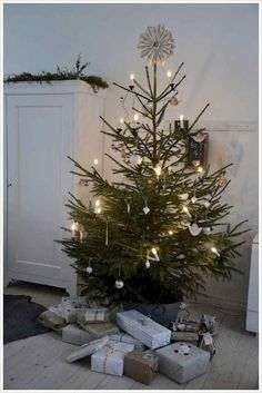 Looking for for images for farmhouse christmas tree? Browse around this website for unique farmhouse christmas tree ideas. This amazing farmhouse christmas tree ideas seems totally fantastic. Noel Christmas, Merry Little Christmas, Scandinavian Christmas, Country Christmas, Simple Christmas, Winter Christmas, Christmas Tree In A Pot, Small Real Christmas Trees, Beautiful Christmas
