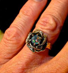 Rose Opal Ring. Genuine Australian Opal ring. Handmade Rose design ring setting. Sterling Silver.  Floral nature design.