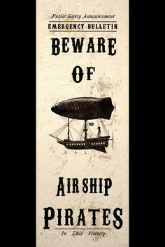 Steampunk pirate airship sign