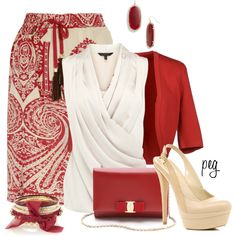 """Red and Nude"" by derniers on Polyvore"