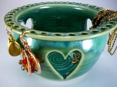 Earring holder with heart. Green & chartreuse glaze, stoneware pottery. Handmade by Julie Knowles Pottery