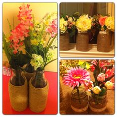 DIY Centerpieces...made by yours truly! :) mason jars, burlap, lace....milk jugs & twine