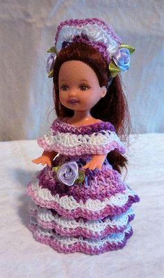 "Handmade Thread Crochet Kelly Doll Barbie Family Dress for 4.5"" Kelly or similar sized dolls"