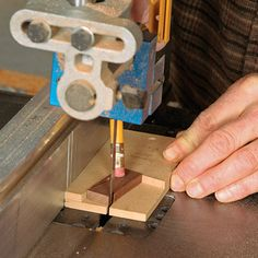 Small Parts Jig. Two layers of 1/4-in. MDF create a handy jig for cutting butterfly keys. A pencil holds down the work. How to Build Woodworking Jigs | Startwoodworking.com