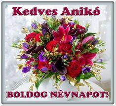 névnap, Anikó, szöveges, képeslap, virágok, köszöntő,