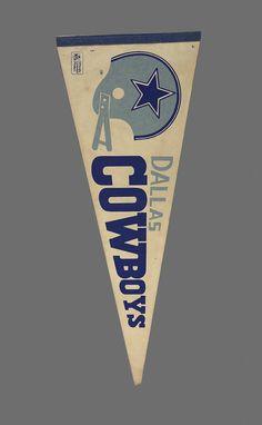 "1970s Dallas Cowboys Pennant Vintage Large Felt Officially Licensed NFL Product Football Team Souvenir 30"" Flag Full Size"