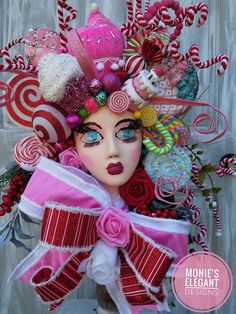 Christmas Floral Arrangements, Christmas Centerpieces, Floral Centerpieces, Skeleton Decorations, Santa Decorations, Table Decorations, Candy Land Christmas, Wedding Props, Ugly Christmas Sweater