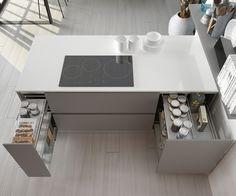 Nuestra cocina GANDÍA se proyecta con una isla central que delimita los ambientes y organiza el espacio, ordena el trabajo y da fluidez a los movimientos.