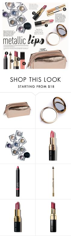 """Shine on: Metallic Lips"" by lunaarmani ❤ liked on Polyvore featuring beauty, Odeme, Bobbi Brown Cosmetics, NARS Cosmetics, Anastasia Beverly Hills, Estée Lauder, Rika and metalliclips"