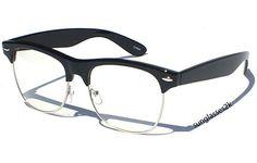 Hipster Glasses - Clubmaster Black Frame, Clear Lens Eyeglasses #HipsterGlasses