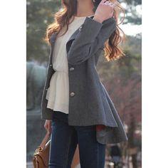 Sweet Round Collar Dovetail Dark Gray Slimming Long Sleeves