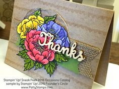 Occasions catalog birthday blooms flower card thanks by Stampin Up