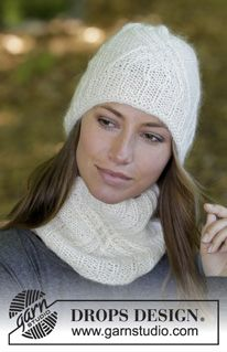Enrica / DROPS - Set consists of: Knitted hat and neck warmer with cables, lace pattern and rib. Set is worked in DROPS Baby Merino and DROPS Kid-Silk. Knitting Patterns Free, Knit Patterns, Free Knitting, Free Pattern, Drops Design, Drops Kid Silk, Drops Baby, Knit Cowl, Knit Crochet