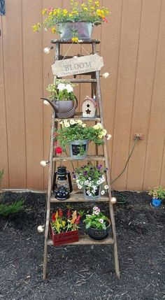 Totally Inspiring Ladder Garden Ideas For Backyard - Old or even broken timber ladders can be put to a number of new uses around the home, shed or garden. Among the ideas you could explore are pot plant . Garden Whimsy, Garden Junk, Garden Yard Ideas, Garden Crafts, Garden Projects, Garden Pots, Big Garden, Glass Garden, Balcony Garden