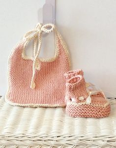 Dusty Pink Pima Cotton Baby Bib and Bootie Set by jwickey on Etsy