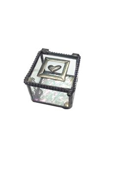 """A perfect keepsake or jewelry box embellished with lead-free soldered heart artwork and a textured iridescent interior.  Measures 2.25"""" x 2.5"""" x 2""""  Heart Glass Box by J Devlin Glass Art. Accessories - Jewelry - Jewelry Boxes & Accessories California"""