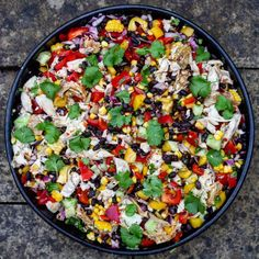 BIO: The freshest, zingiest salad about. Leave out the chicken if you're a veggie. NOTES: If your black beans aren't presoaked, just leave them in a bowl Mob Kitchen, Cucumbers And Onions, Tonkatsu, Winner Winner Chicken Dinner, Big Salad, Stuffed Whole Chicken, Salad Bowls, Black Beans, Cooking Time